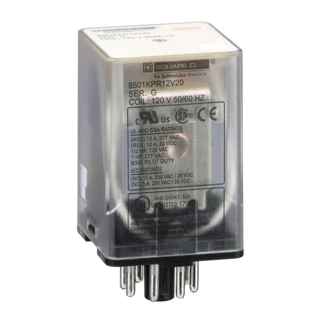 Mayer-Plug in relay, 8 pin, DPDT, 10 amp at 277 VAC, 12 VAC coil, pilot light-1