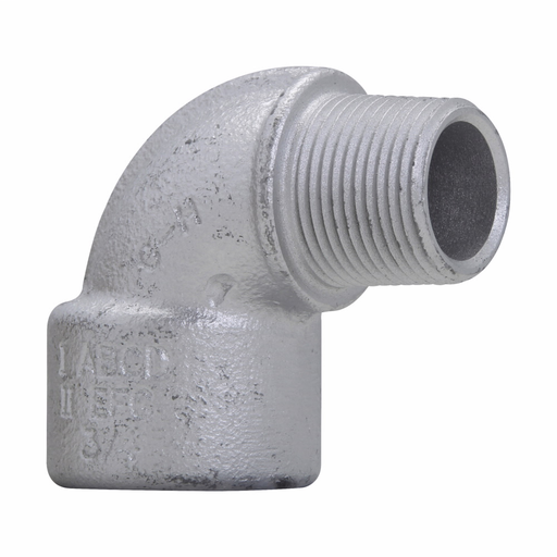 "Mayer-Eaton Crouse-Hinds series EL elbow, Male and female, Feraloy iron alloy or ductile iron, 90°, 1/2""-1"