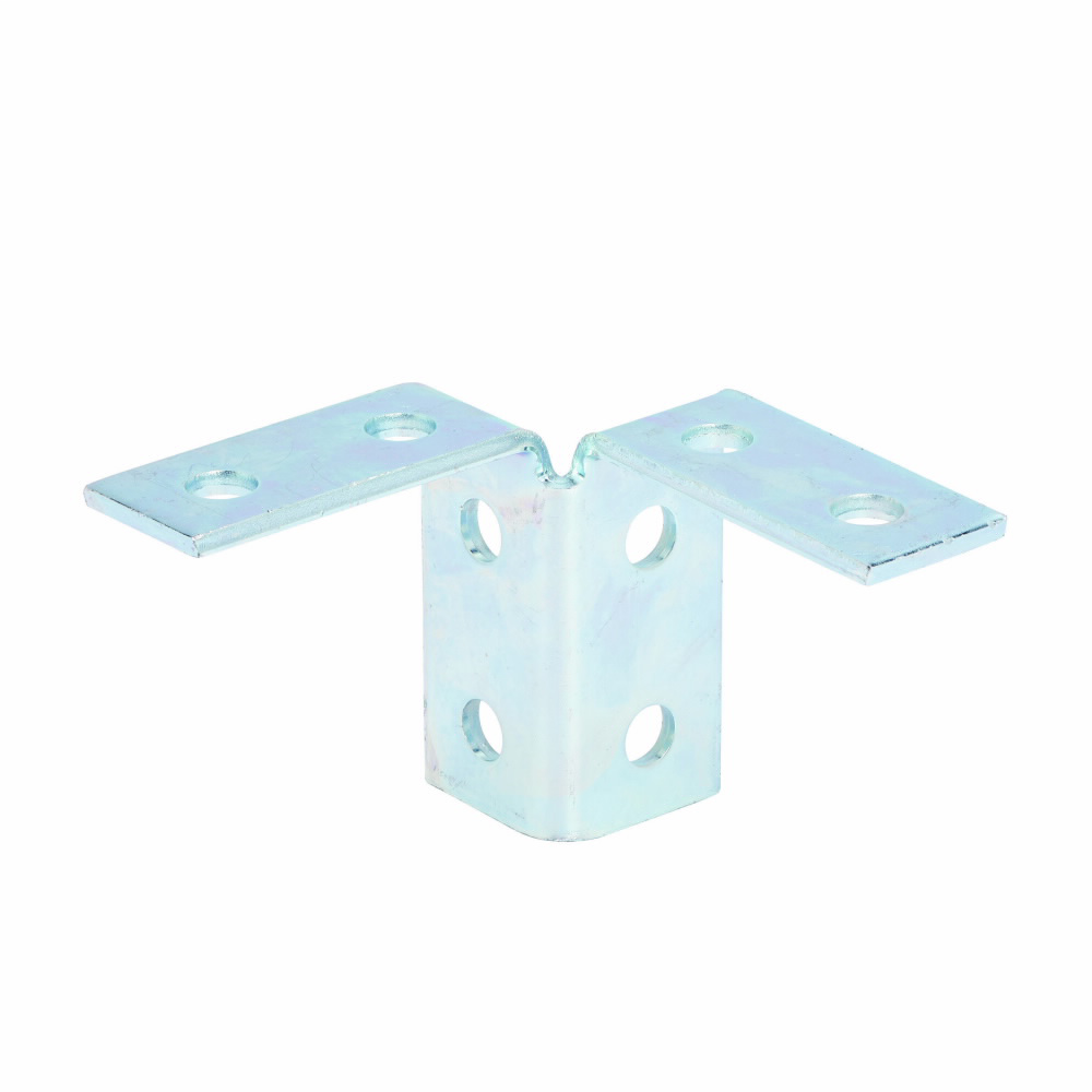 "Eaton B-Line series strut fittings and accessories, 3.93"" Height, 5.37"" Length, 3.5"" Width, 1.52lbs, Steel, Eight hole double corner connection, 90 deg, Thickness 1/4 in, DURA GREEN"