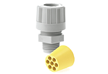 """MAX-LOC® Multi-Hole Strain Relief, 1/2"""" NPT, Straight Male with O-Ring, Cable Diameter 3.96mm (.156"""")"""