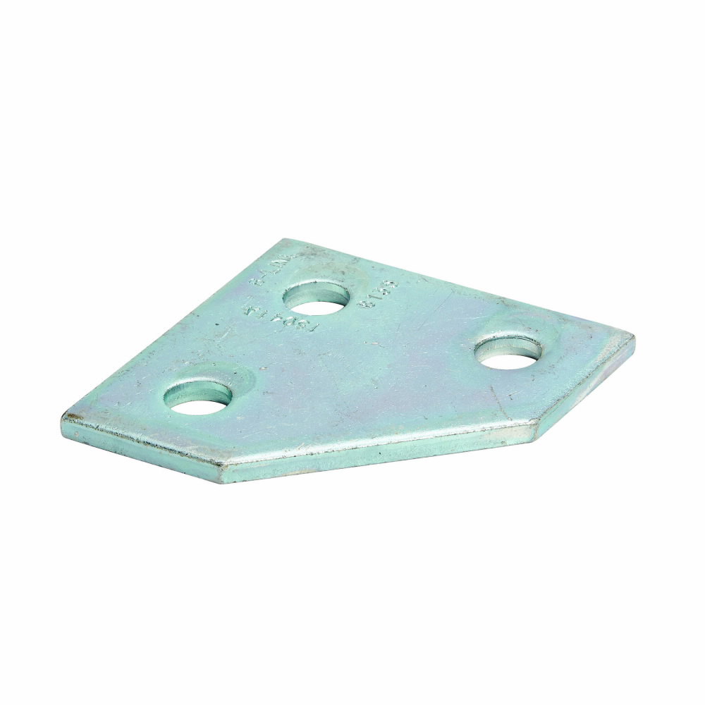 "Eaton B-Line series strut fittings and accessories, 3.5"" Height, 3.5"" Length, 1.62"" Width, .765lbs, Steel, Flat three hole corner gusset plate, Thickness 1/4 in, Electro-plated"