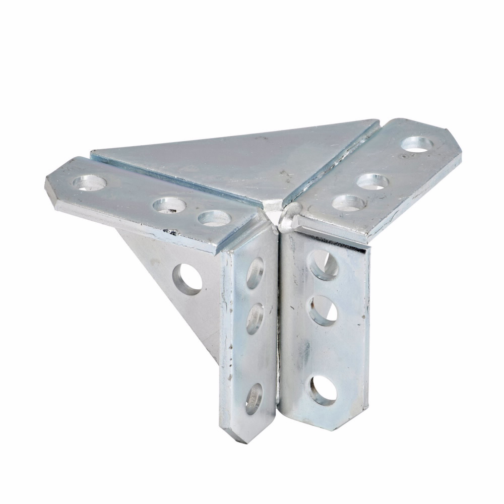 "Eaton B-Line series strut fittings and accessories, 4"" Height, 4"" Length, 1.62"" Width, 2.26lbs, Steel, Eight hole double corner gussetted connection, DURA GREEN"