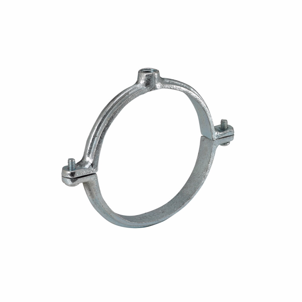 "Eaton B-Line series split clamps, 0.563"" height, 2.688"" length, 2.188"" width, Malleable Iron, Extension split pipe clamp, Type 12, Zinc chromate, 1"" pipe size, 3/8-16"" rod size"