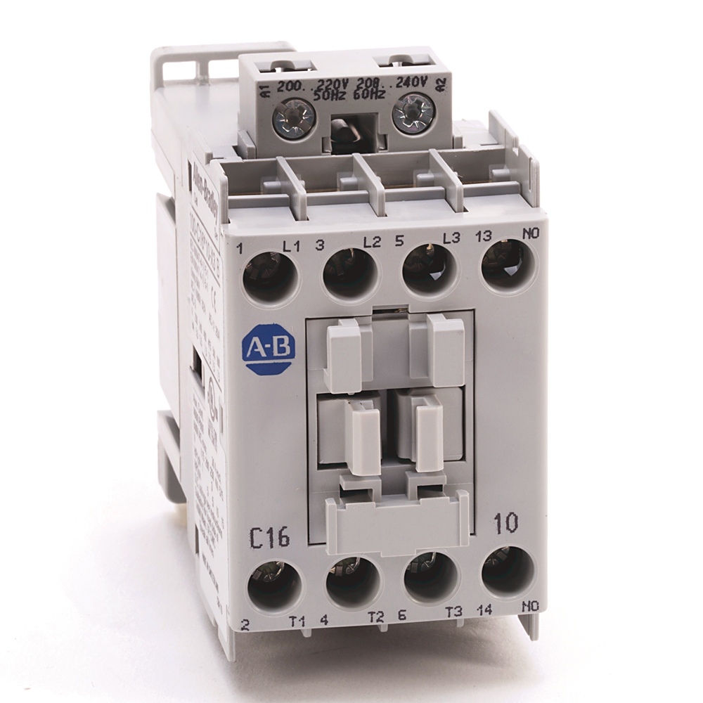 IEC Contactors Screw Terminals  16A, Line Side Connection, 200-220V 50Hz / 208-240V 60Hz, 0 N.O. 1 N.C.Auxiliary Contact Configuration, Remove Terminal Shrouds