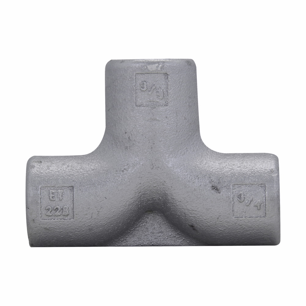 "Eaton Crouse-Hinds series Condulet ET service entrance tee, Rigid/IMC, Feraloy iron alloy, 3/4""-3/4""-3/4"""