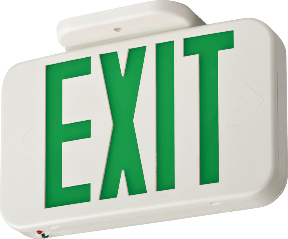 White Thermoplastic LED Exit, Emergency with Ni-cad Battery back-up, GREEN Single Face with Extra Face Plate and Color Panel, SKU - 210LCM