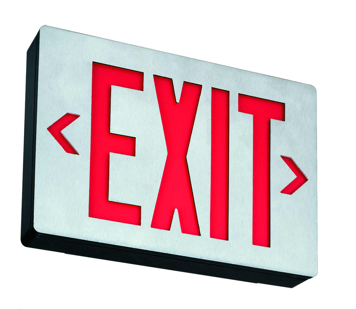Signature die-cast aluminum exits with LED lamps and 8 IN letter height, Single with extra faceplate and color panel for field conversion to double face, Red, Emergency, SKU - 142APF