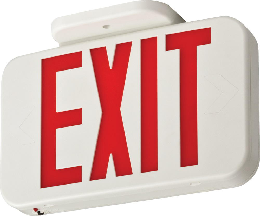 White Thermoplastic LED Exit, Emergency with Ni-cad Battery back-up, GREEN Single Face with Extra Face Plate and Color Panel, Assembled in US, SKU - 210LC6