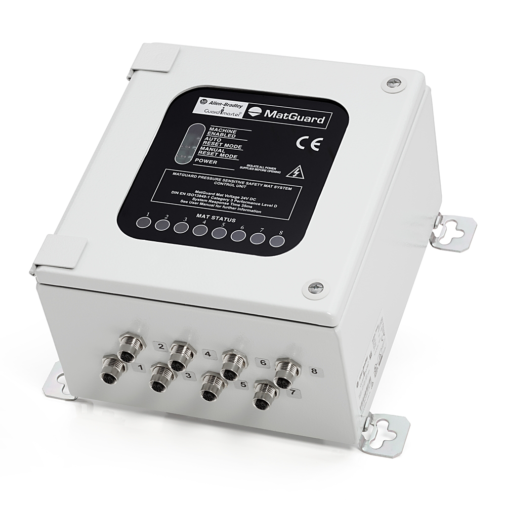 MatGuard™ Controller, IP65 steel enclosure, 230/110VAC, 24V AC/DC, Safety Outputs: 2 N.O., Auxiliarly Output: 1 N.O., Reset: Monitored Manual or Automatic/Manual