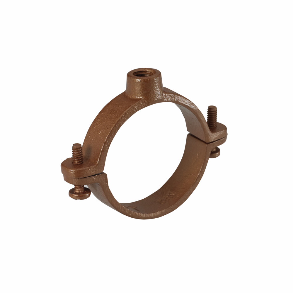"Eaton B-Line series split clamps, 0.547"" height, 1.938"" length, 1.782"" width, Malleable Iron, Extension split pipe clamp, Type 12, DURA COPPER, 0.75"" pipe size, 3/8-16"" rod size"