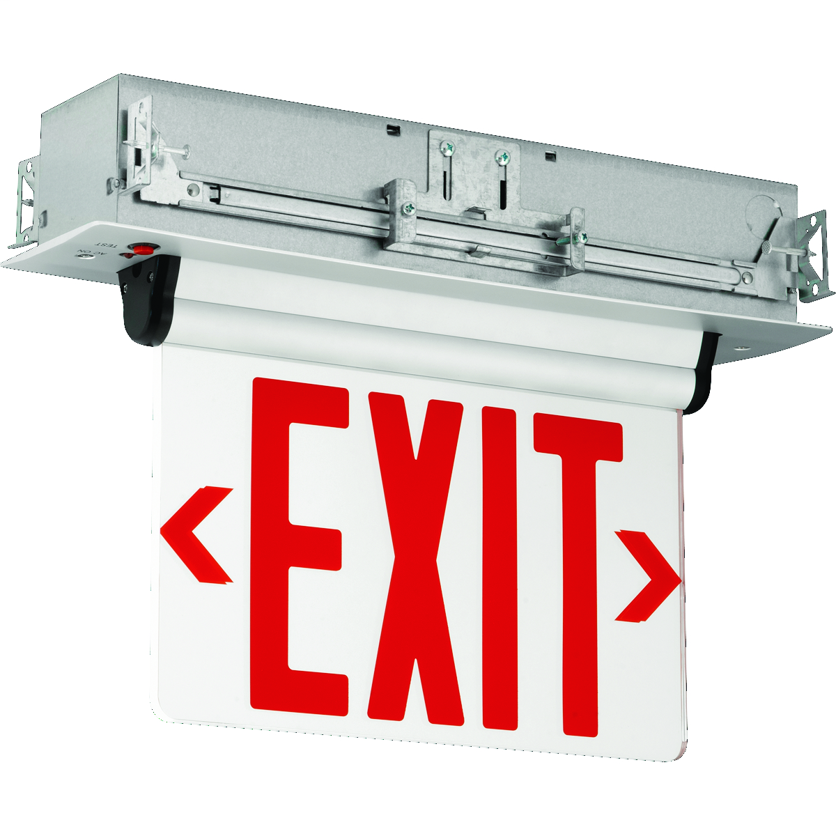 Red Letters, Single Face, Surface Mount. Maintenance free, sealed nickel cadmium battery. Field installed directional arrow indicators with template.