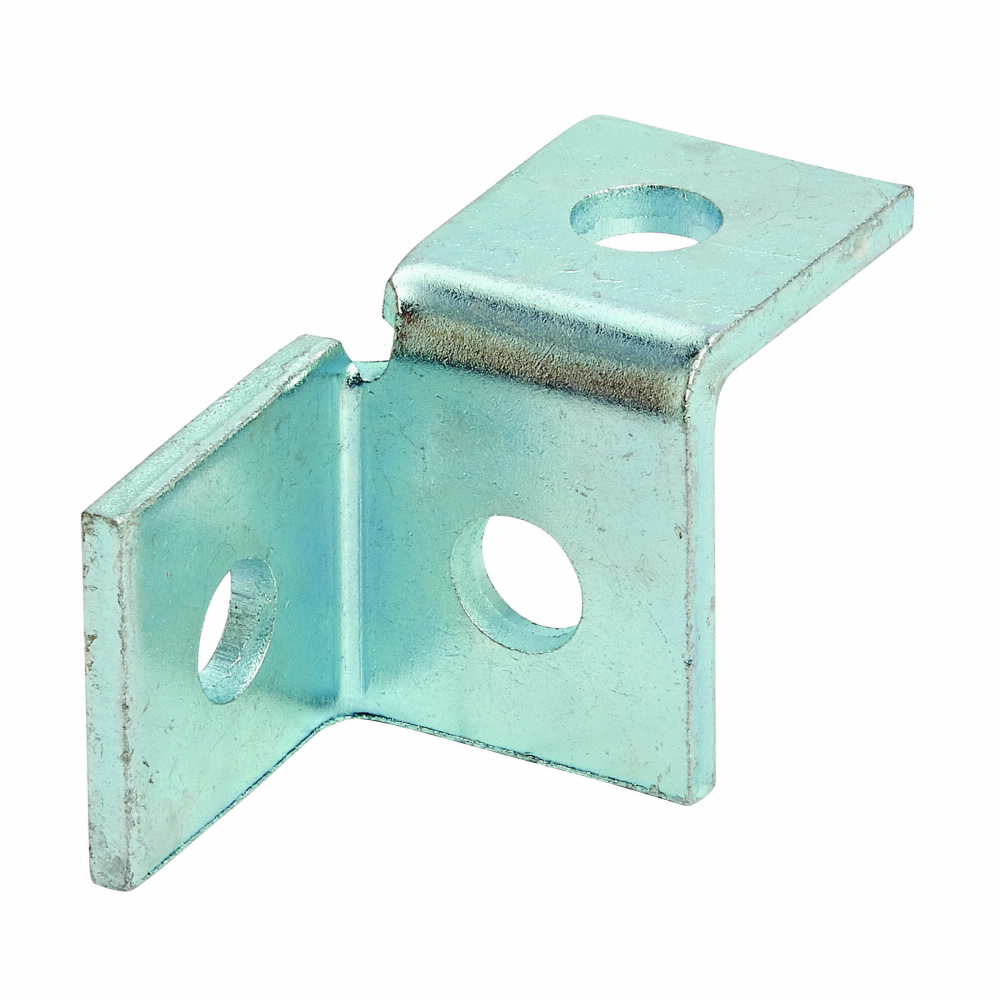 """Eaton B-Line series strut fittings and accessories, 2.06"""" Height, 3.5"""" Length, 1.62"""" Width, .54lbs, Steel, Left hand three hole single corner wing fitting, Electro-plated"""
