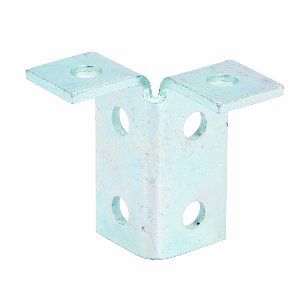 """Eaton B-Line series strut fittings and accessories, 3.93"""" Height, 3.5"""" Length, 1.62"""" Width, 1.10lbs, Steel, Six hole double corner angle, 90 deg, Thickness 1/4 in, Electro-plated"""
