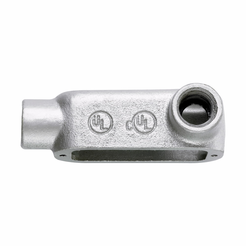 """Eaton Crouse-Hinds series Condulet Form 5 conduit outlet body, Malleable iron, LR shape, 1-1/4"""""""