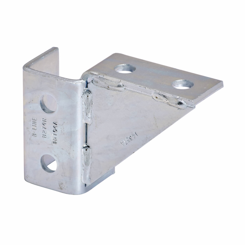 """Eaton B-Line series strut fittings and accessories, 3.93"""" Height, 5.67"""" Length, 1.68"""" Width, 1.76lbs, Steel, Right hand eight hole single corner gussetted wing fitting, Electro-plated"""