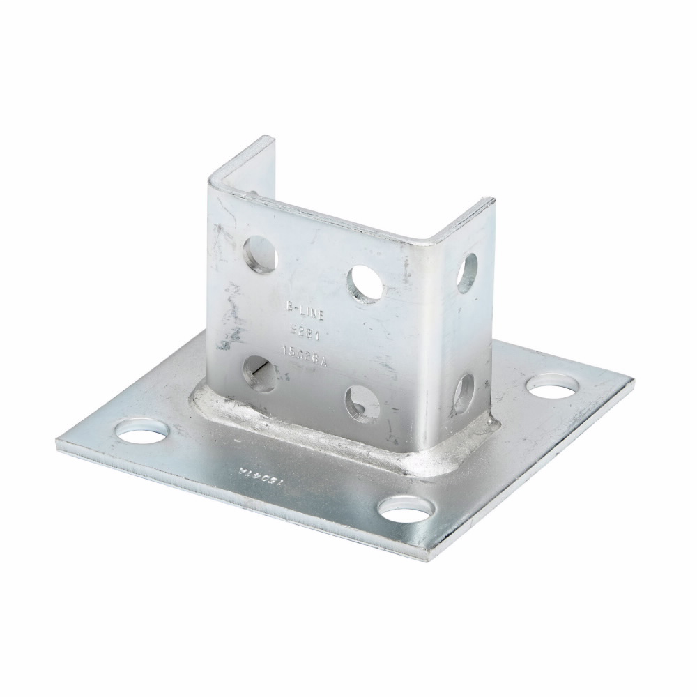 """Eaton B-Line series strut fittings and accessories, 3.5"""" Height, 6"""" Length, 6"""" Width, 4.00lbs, Steel, Square post base, centered, Post base for B22A, B, C, Electro-plated"""