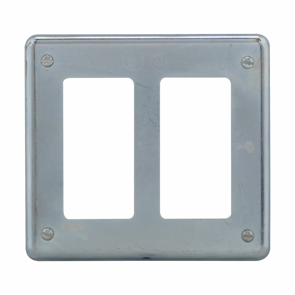 Eaton Crouse-Hinds series S Series GFI receptacle cover, Sheet steel, Surface mount, Two-gang, For GFI receptacles