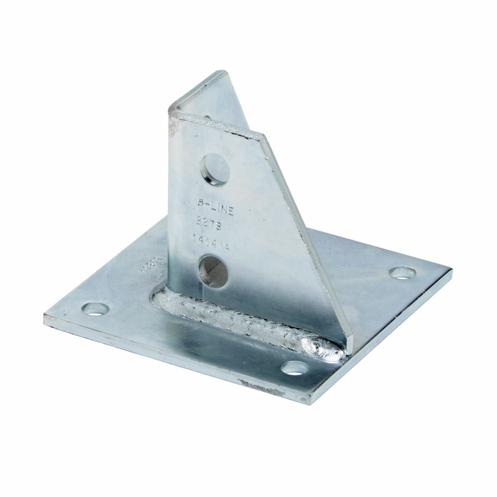 """Eaton B-Line series strut fittings and accessories, 3.5"""" Height, 5"""" Length, 5"""" Width, 2.8lbs, Steel, Square post base, flush, Electro-plated"""