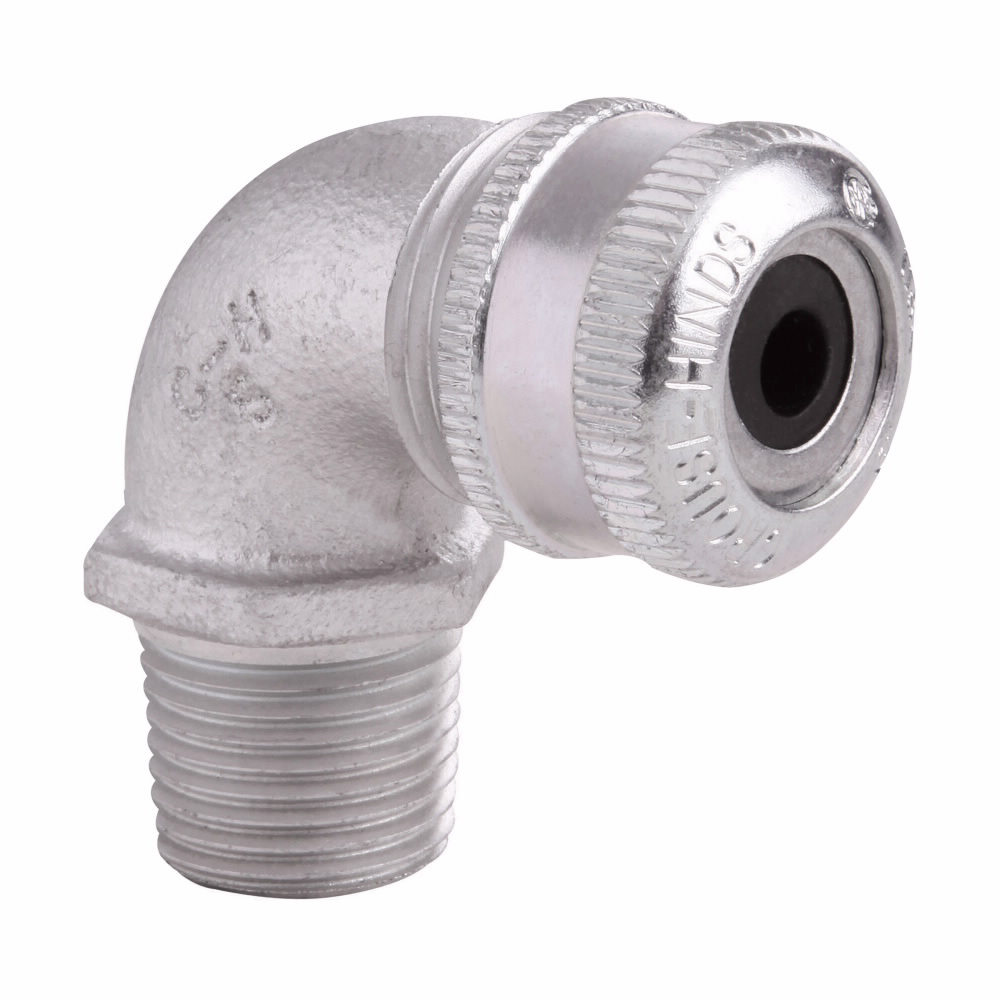 """Eaton Crouse-Hinds series CGE cable gland, Cable range min/max: 0.750-0.875"""", Non-armoured and tray cable, 90° angle, Non-armoured gland, Feraloy iron alloy, General purpose, 1"""" NPT"""