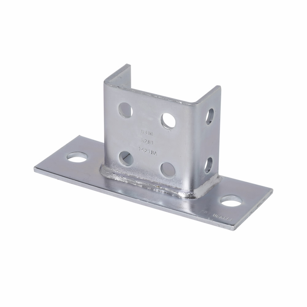 """Eaton B-Line series strut fittings and accessories, 3.5"""" Height, 8"""" Length, 3"""" Width, 3.2lbs, Steel, Rectangular post base, flush to side, Fits channel type B22A, B, C, Electro-plated"""