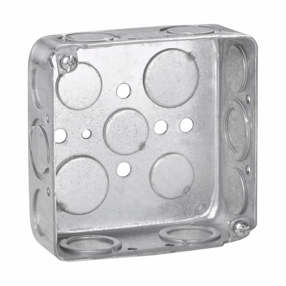 """Eaton Crouse-Hinds series Square Outlet Box, (3) 1/2"""", (2) 3/4"""", 4"""", Conduit (no clamps), Drawn, 1-1/2"""", Steel, (4) 1/2"""", (6) 1/2"""", (1) 3/4"""" C, 22.0 cubic inch capacity"""
