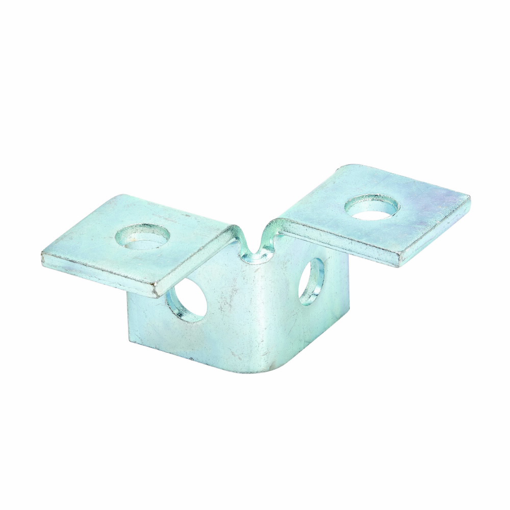 """Eaton B-Line series strut fittings and accessories, 2.06"""" Height, 3.5"""" Length, 1.62"""" Width, .71lbs, Steel, Four hole double corner wing fitting, 90 deg, Thickness 1/4 in, Electro-plated"""