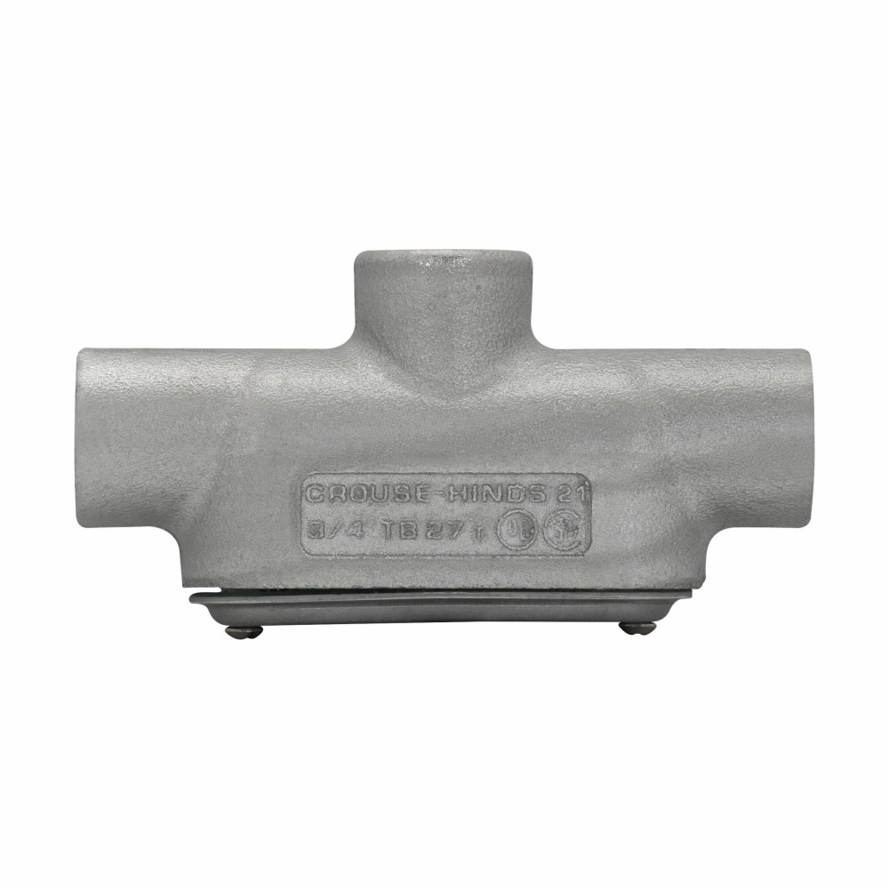 """Eaton Crouse-Hinds series Condulet Form 7 SnapPack conduit outlet body, gasket and cover, Feraloy iron alloy, TB shape, 1"""""""
