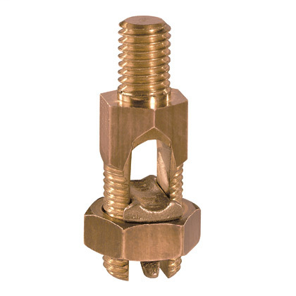 """Bronze, service post connector, 1 SOL-4/0 STR, stud length 1.50"""", male, two cable, type SP2."""