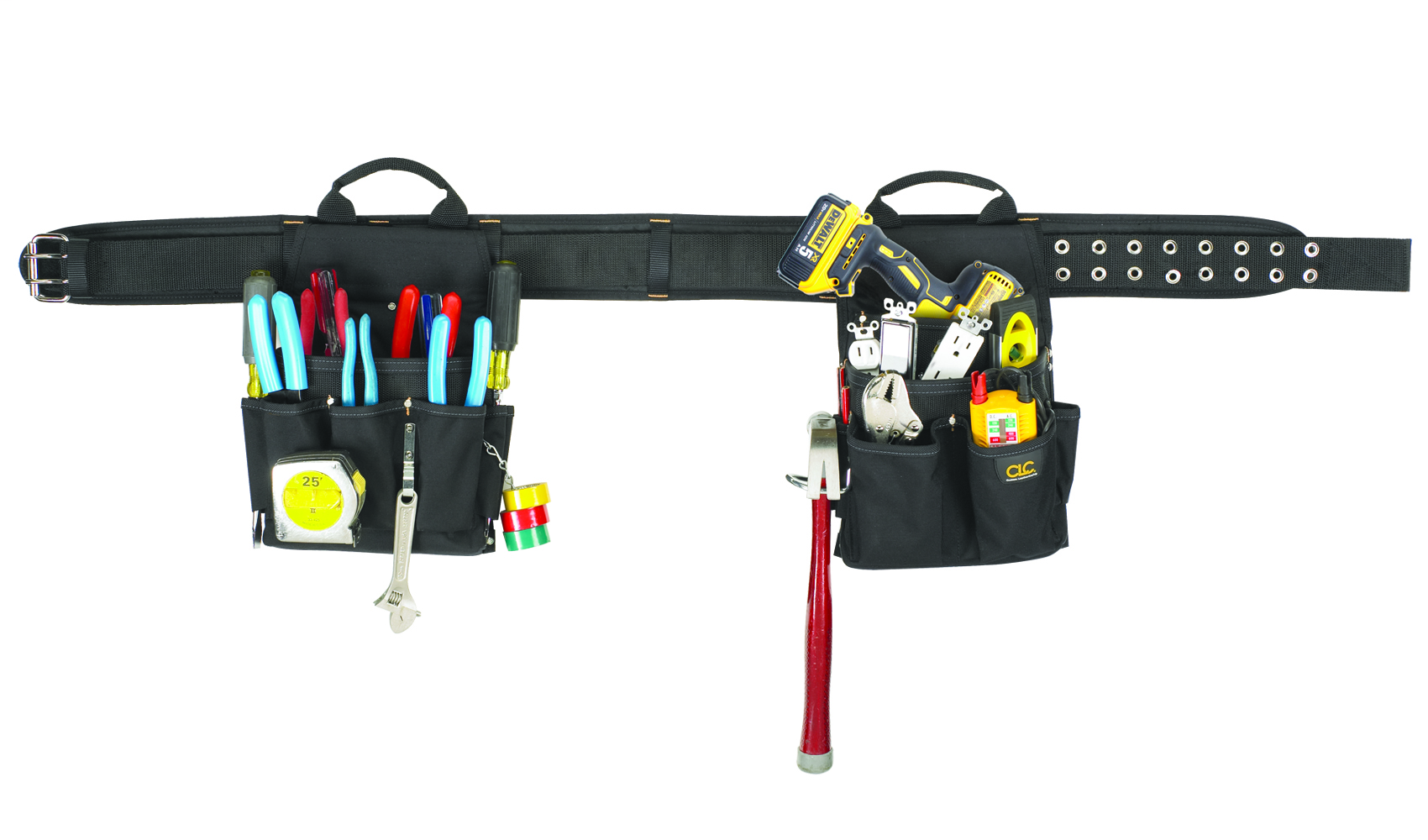 CLC, Electrical Combo Tool Belt, 3 in. width, fits belts up to 29 to 46 in., Removable carrier type, Ballistic Poly material