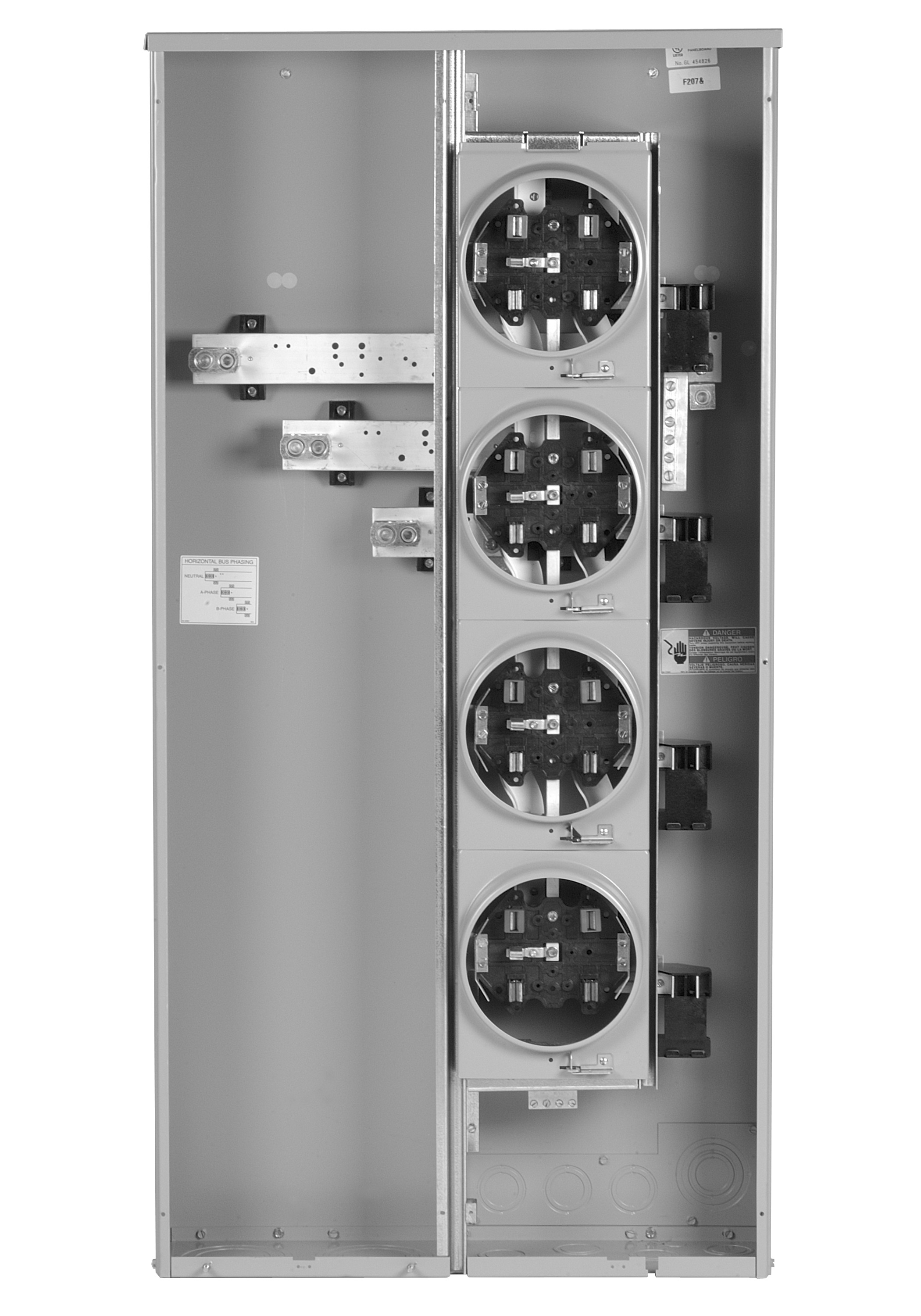 MiniModIII , 5 - 125 Amp, 1 Phase/3 Wire Ring-type sockets, 600 Amp Bus Rating, Indoor/Outdoor Construction (NEMA 1/3R)