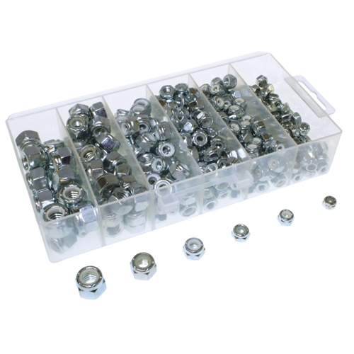 Mayer-Hexagon Nut Kit, Steel construction, Zinc Chromate finish, #6-32, #8-32, #10-32, 1/4-20 IN, 5/16 - 18 IN, 3/8 -16 in. Size, 400 Pieces, (100)#6-32 Hexagon Nut, (100)#8-32 Hexagon Nut, (100)#10-32 Hexagon Nut, (50)-1/4 x 20 in. Hexagon Nut, (30) 5/16 - 18-1
