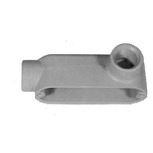 Mayer-Form 85 UNILETS Type LR Conduit Outlet Body, Hub Size: 2 IN, Form: 85, Length: 10.19 IN, Width: 4.19 IN, Material: Pressure Cast Aluminum, Finish: Epoxy Powder Coat, Connection: Tapered Female Threaded, Standard: UL 514A, UL 514B, UL File-1