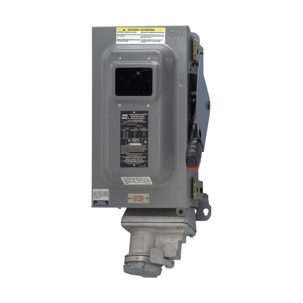 """Eaton Crouse-Hinds series Arktite WSRD interlocked receptacle with enclosed disconnect switch, 30A, Three-wire, four-pole, Brass contacts, Windowed door, Fused, Style 2, 15 HP/20 HP, Copper-free aluminum, Spring door, 1"""", 480/600 Vac"""