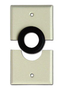Mulberry; Wallplate; Split Plate; Gang: 1; Cutout: (1) 1 IN Feed Thru; Material: Stainless Steel; Mounting: Rubber Grommet Box; Finish: Powder Coated