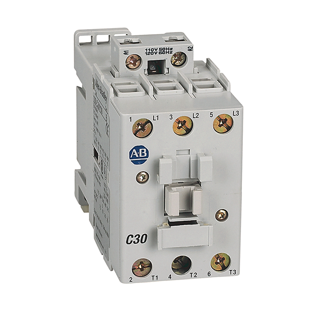 Contactor,30 A,110V 50 Hz / 120V 60 Hz.,AC,3 Normally Open Poles,1 NO Contacts & 1 NC Contacts,Single Pack,Line Side Coil Termination,Screw Terminals,Motor Load