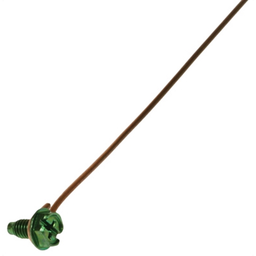Mayer-Grounding Pigtail with Screw, Bare Wire, 7 in. length, Green, Copper material, Slotted, Phillips, Dog Point Screw, Hex Washer included, Zinc Coated finish, 100 per box, #14 Size, Steel screw material-1