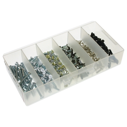 Mayer-Switch Plate Screw Kit, #6-32 Size, 500 piece(s), 1/2 & 1 in. length, Oval head, Zinc finish, including a(n) (100) #6-32 x 1/2 in. Ivory, (100) #6-32 × 1/2 in. White, (100) #6-32 × 1/2 in. Stainless Steel and (75) #6-32 x 1 in. Ivory, (75) #6-32 x 1 in. W-1