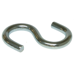 Mayer-S-Hook, 1-1/4 in. overall length, 0.105 in. hook diameter, Steel galvanized hook material, Zinc Chromate finish. , 100 per pack, For use with JC12/JC14 Jack Chain-1
