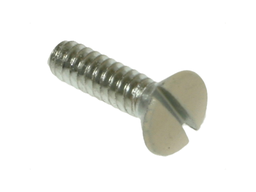 Mayer-Wall Plate Screw, #6-32 size, Oval head, 1/2 in. length, Ivory head color, Slotted drive type, Steel, 100 per pack-1
