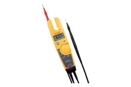 Mayer-Electrical tester with OpenJaw™ Current, 600 V and 4 mm detachable probes. The Fluke T5 Electrical Testers let you check voltage, continuity and current with one compact tool. With the T5, all you have to do is select volts, ohms, or current and the teste-1