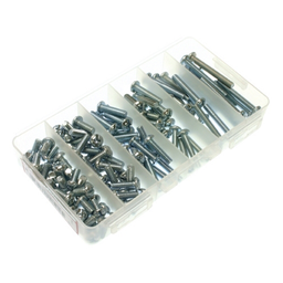 Mayer-Machine Screw Kit, #8-32 Size, 370 piece(s), Steel material, Round head, Phillips/Slotted drive type, Zinc finish, Plastic box material, including a(n) (100) 1/2 in. Machine Screw, (75) 3/4 in. Machine Screw, (75) 1 in. Machine Screw, (50) 1-1/4 in. Machi-1