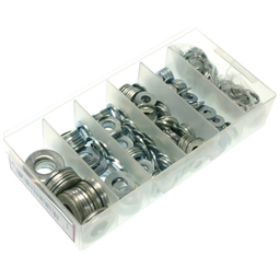 Mayer-Flat Washer Kit, 485 pieces, Zinc Chromate finish, Steel, 7 sizes (100) #6, (100) #8, (100) #10, (75) 1/4 in., (50) 5/16 in., (35) 3/8 in., (25) 1/2 in.-1