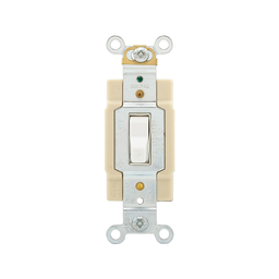Mayer-Toggle Switch, Commercial, White, Screw, Wall, Four-way, Copper alloy, 120/277 Vac, #14-10 AWG, Side wire, 0.031 in-1