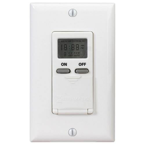 INT EI500WC IN-WALL DIGITAL 7-DAY TIMER 15 AMP 120 VAC WHITE