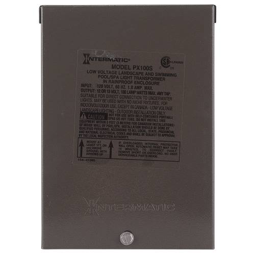 Intermatic PX100S 120 VAC 1 Amp Primary 13 VAC Secondary 100 W Safety Transformer with Stainless Steel Enclosure