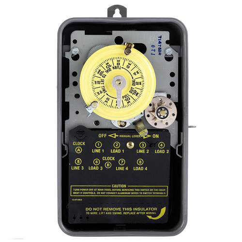Intermatic T1475BR NEMA 3R Steel Case 480 VAC 60 Hz 40 Amp 4PST Electromechanical Time Switch with Clock Motor Terminal