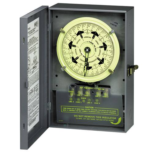 Intermatic T7801BC NEMA 1 Steel Case 125 VAC 60 Hz 40 Amp DPDT Electromechanical Time Switch with Carryover