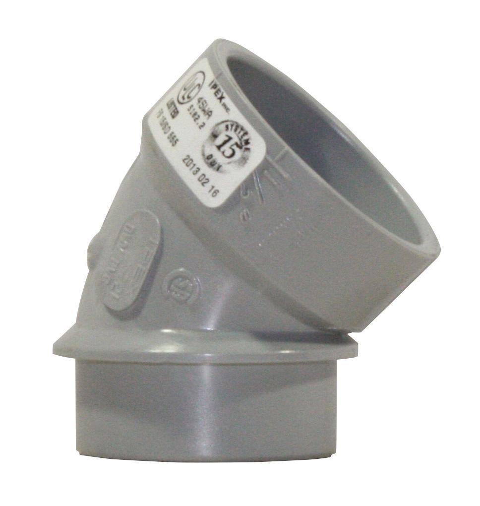 "1 1/2""x45D PVC DWV SHORT TURN ELBOW SPxH SYSTEM 15"