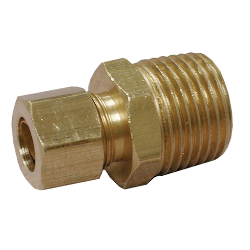 "3/8"" x 1/2"" Brass Compression x Male Connector, Lead Free"