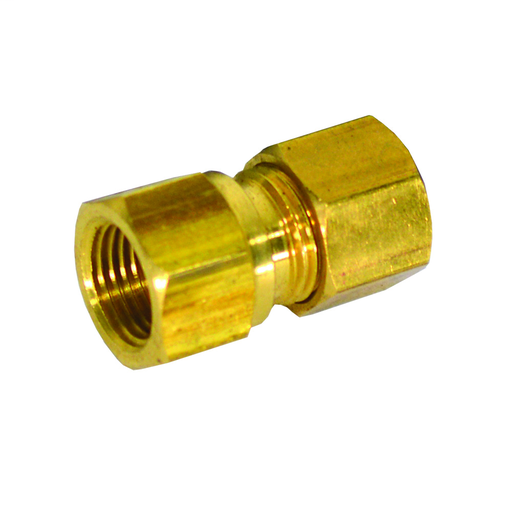 "3/8"" x 3/8"" Brass Compression x Female Connector, Lead Free"